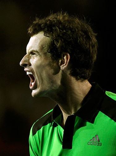 Andy Murray of Britain reacts during his semi-final match against David Ferrer of Spain at the Australian Open tennis tournament in Melbourne on Jan. 28, 2011. (REUTERS)