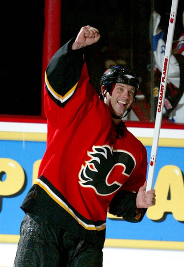 Craig Conroy celebrates scoring in the third period action at the Pengrowth Saddledome between the LA Kings and the Calgary Flames Jan 30/ 07. He was named the games second star and threw his stick to fans after the game.Photo by JIM WELLS/ Calgary Sun