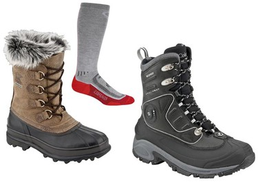 Clockwise from left: Leather and shearling Sorel Caribou Reserve LTD Boots ($499.99) from Sorel.com; Icebreaker ski socks ($26.99 to $31.99); The Columbia Bugathermo Boots ($349.99) with the Omni-Heat electric technology inside can heat up the boots with the push of a button. Find retailers at ColumbiaSportswear.ca. (Handout photos)