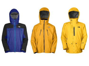 From left to right: The North Face's Lockoff jacket ($570) includes a three-layer Gore-Tex Pro shell. Available from TheNorthFace.com; The North Face's Free Thinker jacket ($650) is the company's most innovative and technical waterproof Gore-Tex jacket, with strategically placed fabric for ultimate comfort. Available from TheNorthFace.com; The North Face's Bizzo jacket ($550) is built for athletes, with a three-layer Gore-Tex Performance Shell fabric. Available from TheNorthFace.com. (Handout)