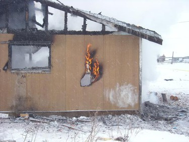 A house fire claimed the life of a two-month-old girl in a northern Manitoba reserve. Officers were called to the blaze around 12:30 p.m. Sunday, Jan. 16, 2011 and discovered six children, between the ages of two months and 13 years old, had been sleeping inside the St. Theresa Point home at the time it caught fire. Rescuers managed to pull out the baby, but she died from her injuries at a local nursing station. (HANDOUT)