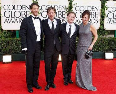 """Mountaineer Aron Ralston, subject of film """"127 Hours"""", producer Christian Colson, screenplay writer Simon Beaufoy and an unidentified guest (L to R) arrive at the 68th annual Golden Globe Awards in Beverly Hills, California, January 16, 2011. REUTERS/Mario Anzuoni"""