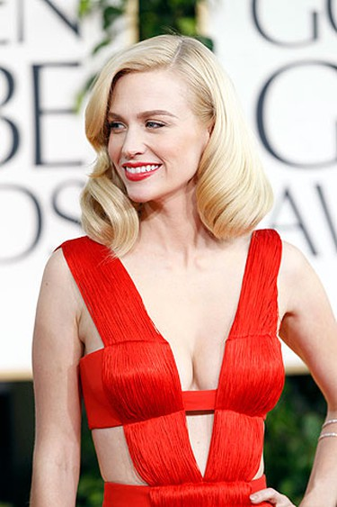 January Jones from 'Mad Men' arrives at the 68th annual Golden Globe Awards in Beverly Hills, California, January 16, 2011. REUTERS/Mario Anzuoni