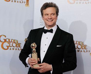 Actor Colin Firth poses with his award for Best Performance by an Actor in a Motion Picture - Drama  for his role in  'The King's Speech' at the 68th annual Golden Globe Awards in Beverly Hills, California, January 16, 2011.  REUTERS/Lucy Nicholson