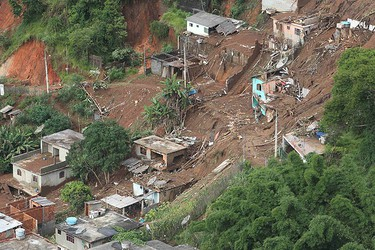 An aerial view shows a landslide-affected area in Teresopolis on Jan. 12, 2011. Floods and landslides devastated towns in a mountainous area near Rio de Janeiro, killing a total of 127. (REUTERS)