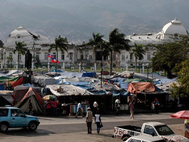 A general view of the partially destroyed national palace in Port-au-Prince January 11, 2011. Haiti will this week mark the first anniversary of the earthquake that killed around 250,000 people and wrecked much of the capital Port-au-Prince on Jan 12, 2010.  (REUTERS/Kena Betancur)