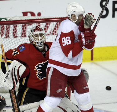 Detroit Red Wings Tomas Holmstrom  in front of Miikka Kiprusoff of the Calgary Flames during NHL hockey  in Calgary, Alberta, Friday January 7, 2011. AL CHAREST/CALGARY SUN/QMI AGENCY