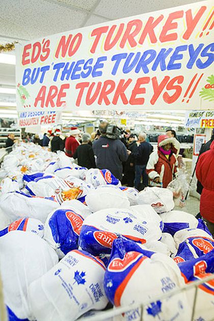 Some 1,200 turkeys await selection during the Honest Ed's annual turkey giveaway on Dec. 5, 2010 in Toronto. (ERNEST DOROSZUK, Toronto Sun)