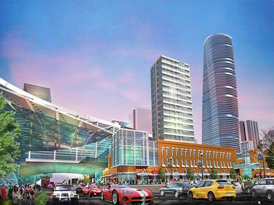 An artist conception of the area for the proposed downtown Edmonton arena district. (Image supplied by Katz Group)