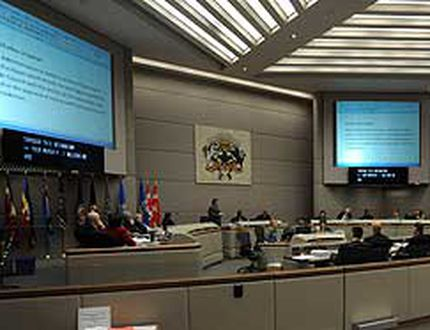 A wide shot of council chambers at city hall in downtown Calgary as officials discuss the new budget in Calgary, Alberta, on Dec. 2, 2010. (Photo by STUART DRYDEN/Calgary Sun)