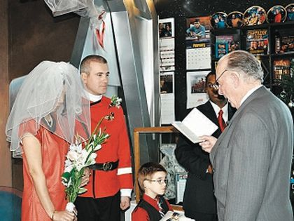 Calgarians James McDonald and Kate Olaso were married Saturday in a Trek-themed wedding. (Submitted photo)