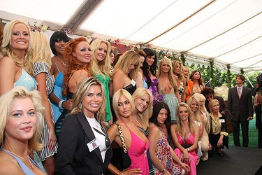 In this 2008 Playboy file photo, Playboy Playmates - past and present - attend the announcement of Jayde Nicole as Playboy's 2008 Playmate of the Year at a luncheon at the Playboy Mansion in L.A. Health officials are investigating a possible respiratory illness outbreak when nearly 100 people became sick after a party at the Playboy Mansion. (WENN.com)