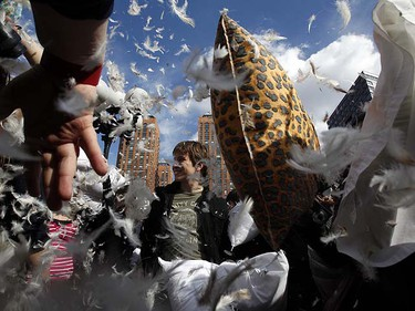 People partake in New York City's sixth annual, and the world's fourth annual Pillow Fight Day in New York's Union Square April 2, 2011. REUTERS/Jessica Rinaldi