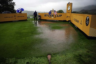 The flooded seventh tee is seen after play was suspended on the first day of the Ryder Cup at Celtic Manor in Newport, Wales on Friday, Oct. 1, 2010. (REUTERS/Kieran Doherty)