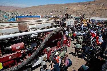 A T 130 backup drilling machine is moved out from the San Jose mine after a similar device completed an escape hole for the 33 miners that are trapped deep underground in a copper and gold mine near Copaipo. (REUTERS)