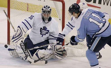 One of only two goalies to make our list is former Maple Leaf, Vesa Toskala. After having spent three years in Toronto, the Finn was traded from the Leafs to the Ducks, and then from Anaheim to Calgary last season. He played a total of 32 games and earned nine wins and 12 losses and a cumulative 2.906 goals against average. (REUTERS/ Jason Cohn)