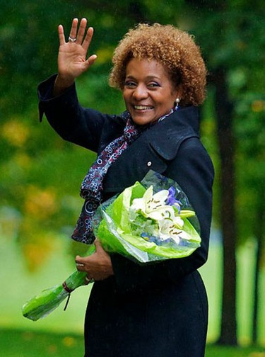 Her Excellency, the Right Honourable Michaelle Jean, Governor General of Canada, waves goodbye as she walks back to Rideau Hall after planting a ceremonial tree to commemorate the end of her mandate. September 30,2010 (Errol McGihon/The Ottawa Sun)