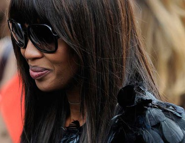 British model Naomi Campbell leaves the memorial service for Alexander McQueen at St. Paul's Cathedral, in London on Sept. 20, 2010.   (REUTERS)