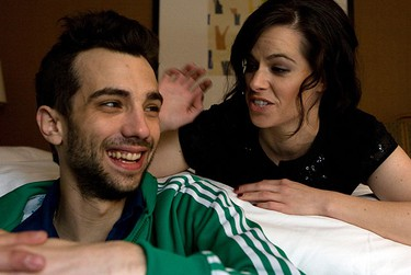 Stars of the movie GOOD NEIGHBOURS, Jay Baruchel and Emily Hampshire, talk about the movie at the Intercontinental Hotel on Bloor St. in Toronto on Tuesday, September 14, 2010. (Dave Thomas/Sun/QMI Agency)