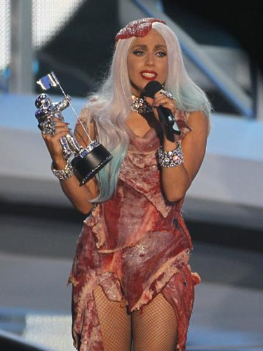 Lady Gaga accepts the award for video of the year for 'Bad Romance' while wearing a meat dress at the 2010 MTV Video Music Awards in Los Angeles, California, September 12, 2010.           REUTERS/Mike Blake