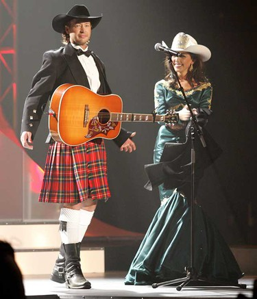 Paul Brandt performs Songologue with Miss Rodeo Brittney Foster at the 2010 Canadian Country Music Awards (CCMA) held in Edmonton at Rexall Place on Sunday September 12, 2010. (TOM BRAID/EDMONTON SUN)