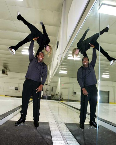 Former Edmonton Oiler Georges Laraque practices with his partner for the television show Battle of the Blades at the Royal Glenora ice rink Thursday. He's being coached by David Pelletier.     The CBC show, which begins its second season on Sunday, Sept. 26, pairs former NHLers with female figure skaters in a figure skating competition.   (PERRY MAH/EDMONTON SUN)