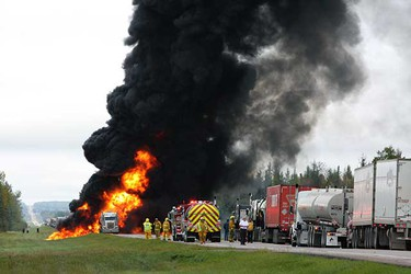 Police re-routed traffic on Highway 63 after a tanker truck burst into flames near Boyle. Boyle RCMP say they got the call just after 9 a.m. Wednesday. Boyle is 150 km north of Edmonton. Highway 63 is the main road to Fort McMurray. No one was hurt in the blaze. (DAN DUPLESSIS/SPECIAL TO EDMONTON SUN)