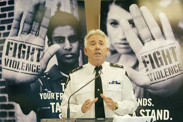 """Chief Mike Boyd speaks at the city of Edmonton's """"Fight Violence"""" Campaign launch July 3, 2007. (EDMONTON SUN FILE)"""