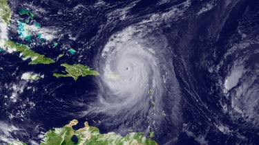 Hurricane Earl is seen moving west-northwest in the Caribbean, in this National Oceanic and Atmospheric Administration (NOAA) satellite image taken and released on August 30, 2010. REUTERS/NOAA/Handout