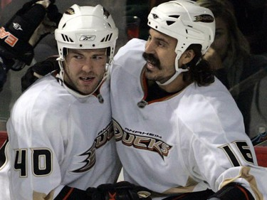 NHL right winger George Parros is known for his long mustache which he grows during the regular season. 'George Parros Mustaches' are even sold to Anaheim Ducks fans at team store. Proceeds are donated to charity. (REUTERS/Christinne Muschi)
