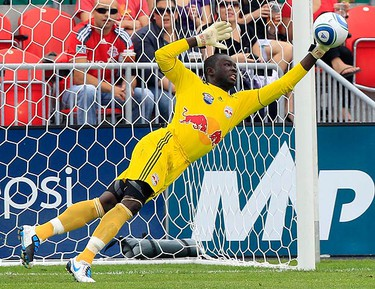 New York Red Bulls goalkeeper Bouna Coundoul makes a save againat Toronto FC during the first half of their MLS soccer game in Toronto August 21, 2010.   (REUTERS)