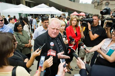 Toronto mayoral candidate Rob Ford scrums with the media in front of Toronto's City Hall on Wednesday August 18, 2010. (Ernest Doroszuk, TORONTO SUN)