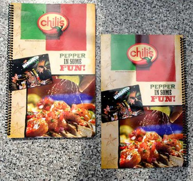 """The new """"Left Handed"""" menu at Chili's August 16th, 2010 in Toronto. The menu is bound on the right side and flips backwards from a right handed menu. (Dave Abel/QMI Agency)"""