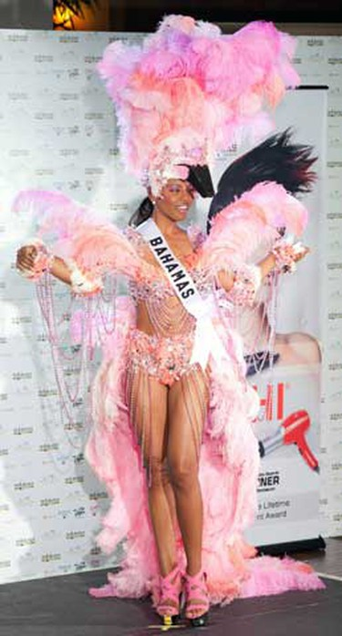Miss Bahamas Braneka Bassett poses in her national costume at the Mandalay Bay Resort and Casino in Las Vegas, Nevada August 16, 2010. The Miss Universe 2010 pageant will take place in Las Vegas on August 23.  (REUTERS)