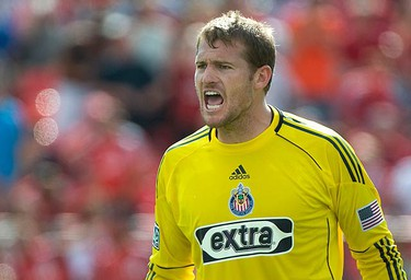 Chivas USA goalkeeper Dan Kennedy reacts after a goal by Toronto FC in the first half of their MLS soccer game in Toronto August 7, 2010.  (REUTERS)