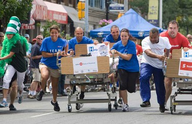 The 5th Annual Toronto East General Hospital Danforth Dash Bed Race  which kicked off The Taste of The Danforth on Friday August 6th, 2010 in Toronto. (Stan Behal/QMI Agency)
