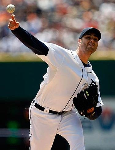 Detroit Tigers starting pitcher Armando Galarraga delivers to the Toronto Blue Jays during the first inning of game one of their split doubleheader American League MLB baseball game in Detroit, Michigan July 25, 2010.  (REUTERS)