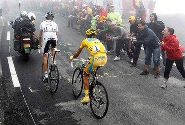 Saxo Bank's Andy Schleck of Luxembourg and Astana's Alberto Contador of Spain climb to the Tourmalet Pass during the 17th stage of the Tour de France cycling race from Pau to Tourmalet Pass, July 22, 2010.  (REUTERS)