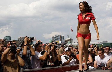 Contestants at the Bud Pit Crew pageant held at the Exhibition Grounds in Toronto on July 17, 2010. (DAVE THOMAS, Toronto Sun)