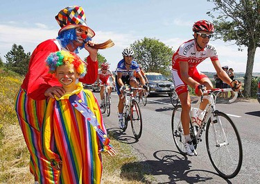 A group of riders cycles during the 12th stage of the Tour de France cycling race between Bourg-de-Peage and Mende, July 16, 2010.  (REUTERS)