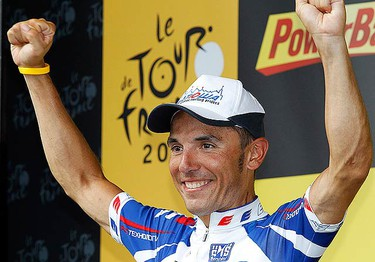 Katusha's Joaquin Rodriguez Oliver celebrates after winning the 12th stage of the Tour de France cycling race between Bourg-de-Peage and Mende, July 16, 2010.   (REUTERS)