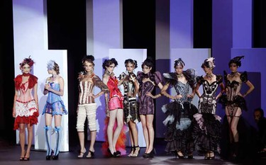 Models present creations from the Bibian Blue spring/summer 2011 collection at the 080 Barcelona Fashion show July 14, 2010. (REUTERS)