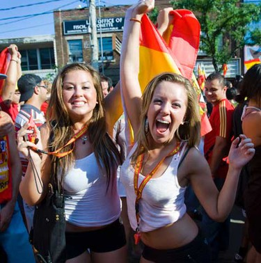 Fans celebrate on College, east of Bathurst after Spain defeats the Netherlands to win the 2010 World Cup on July 11, 2010. (ERNEST DOROSZUK/QMI AGENCY)