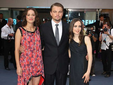 """Marion Cotillard, Leonardo DiCaprio and Ellen Page attend the premiere the film """"Inception"""" at the Odeon in London July 8, 2010.  (WENN.com)"""