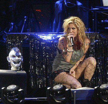 American pop singer, rapper and songwriter, Kesha, performs at the Pengrowth Saddledome as an opening act for Rihanna's, The Last Girl On Earth Tour.....DARREN MAKOWICHUK/QMI AGENCY