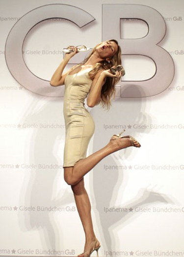 In this file photo, Brazilian model Gisele Bundchen poses for photographers during a photocall to present her new sandals collection in Berlin April 29, 2008.   (REUTERS)