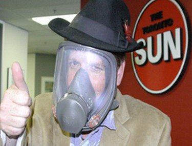 Joe tries out his gas mask in preparation for the G8 and G20. Toronto Sun Photo