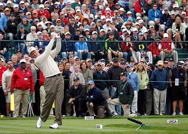 Ernie Els of South Africa watches his tee shot on the 17th hole during the second round of the U.S. Open Golf Championship in Pebble Beach, California, June 18, 2010.  (REUTERS)