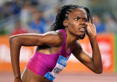 Chaunte Howard-Lowe of the U.S. reacts during the women's high jump event at the IAAF Diamond League athletics meeting in Rome June 10, 2010. (REUTERS)