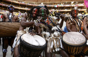 Performers pose during the opening ceremony of the 2010 World Cup at Soccer City stadium in Johannesburg, South Africa on June 11, 2010. (Eddie Keogh/REUTERS)